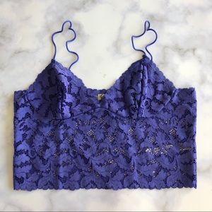 Free People Brami Longline Lace Bralette in Purple